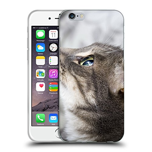 "Just Phone Cases Coque de Protection TPU Silicone Case pour // V00004178 chat regarde avec son grand oeil // Apple iPhone 6 4.7"""