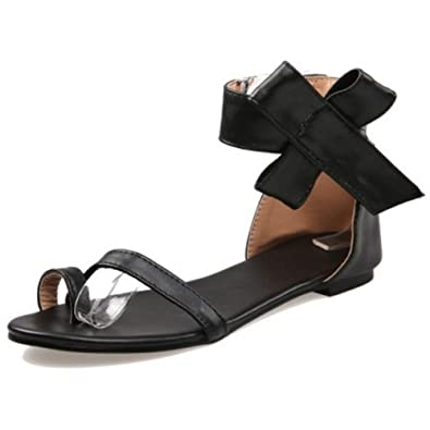 4a4cad89562 LongFengMa Women s Solid Velcro Ankle Strap Bowite Flats Sandals Shoes  (10.5 UK