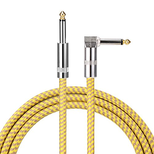 10 ft Guitar Cable Right Angle 1/4 Inch Premium Instrument Bass Cable AMP Cord to Straight for Electric Guitar Bass Keyboard to Guitar Amps ()