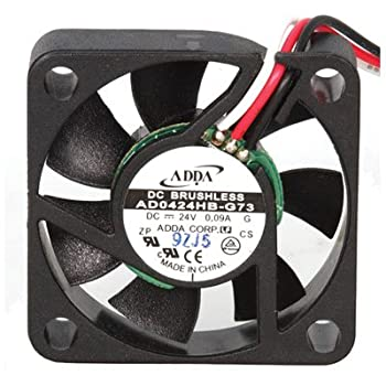 """Adda AD0424HB-G73 DC Fan With 3-12"""" Leads, 24 Volt DC, 6.7 CFM, Ball, 40 mm x 40 mm x 10 mm Size"""