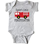 inktastic - Daddy's Little Firefighter Infant Creeper Newborn Heather Grey