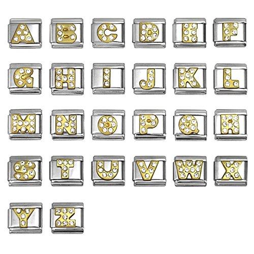 Rhinestone Alphabet Letter Italian Charms 9 mm Stainless Steel Bracelet Link - Choose Letters (Letter (Letter Link Style Name Bracelet)