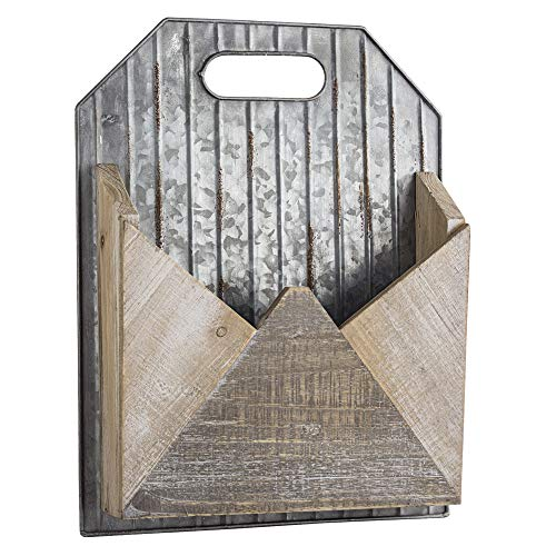 American Art Decor Rustic 1 Pocket Wood and Galvanized Metal Mail/Magazine Rack/Wall Organizer