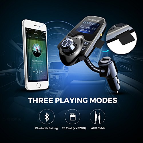 VicTsing T10 FM Transmitter Bluetooth FM Transmitter versatile Gooseneck automotive the airwaves system through USB automotive Charger Hands Free Calling 144 Inches computer screen Popular selections