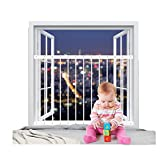 Fairy Baby Hole-Free Installation Child Safety Window Guard White,36.6''-61.8''