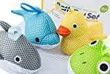 Bath Toys – Soft, Safe & Educational for Baby & Toddlers – Best Set for Kids of All Ages – Interactive Play & Games for Boys and Girls – Use In or Out of Tub - BONUS Case & Mesh Net Organizer Bag for Storage & Drying – Easy to Clean, Without Hol