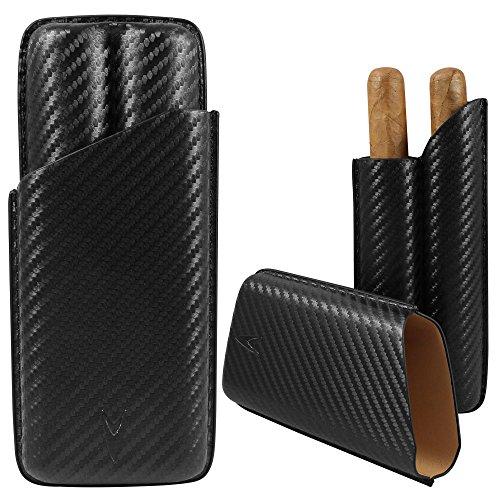 Lotus 70 Ring Gauge Carbon Fiber 2-Finger Cigar Case/Pouch