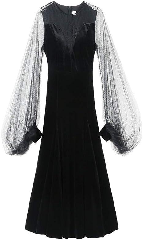 Cxlyq Vestido Damas Diosa Temperamento Encaje Negro Vestido De ...