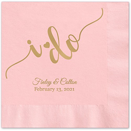 I do Calligraphy Personalized Beverage Cocktail Napkins - 100 Custom Printed Pink Paper Napkins with choice of foil -