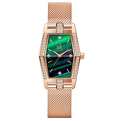 SK Unique Square Watch Women with Stainless Steel Mesh Band Genuine Leather Elegant Rectangle Ladies Watches