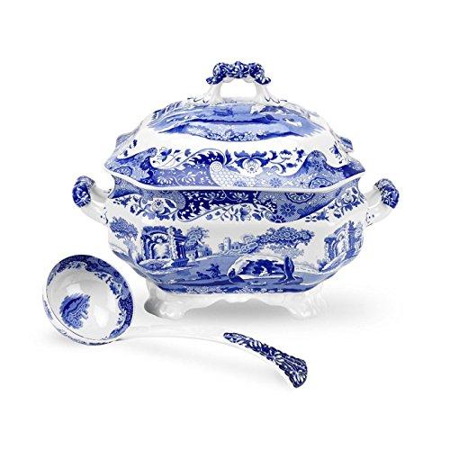 Spode 783931401145 Italian Soup Tureen and Ladle Set, Blue, White, Set