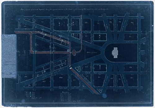 18 x 24 Blueprint Style Reproduced Old Map of: [18220]Plan of grounds adjacent to the Capitol showing the projected alteration of the Canal & the amount of land proposed to - Land Mall East