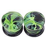 mood plugs - Lianrun Glass Green Curve Fresh Double Flared Ear Plugs Tunnels Gauges 00g