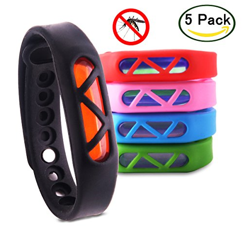 Mosquito Repellent Bracelet 5 pack, 100% All Natural Plant-Based Oil, Non-Toxic Travel Insect Repellent, Safe Deet-Free Band, Soft Silicone Material for Kids & Adults, Keeps Insects & Bugs (100 Deet Insect Repellent)