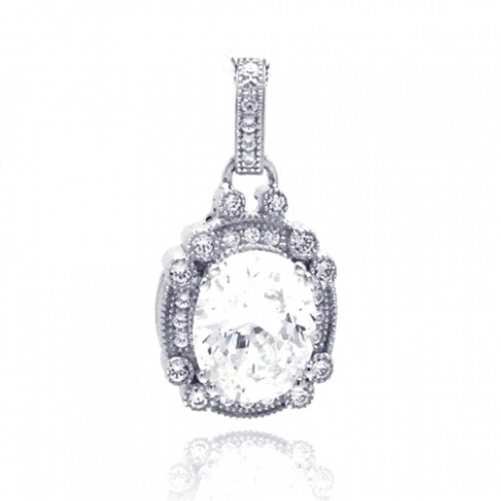 CloseoutWarehouse Cubic Zirconia Round Micro Pave Dangling Pendant Rhodium Plated Sterling Silver