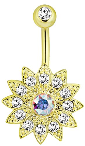 (14k Gold Plated Surgical Steel CZ Pave Crystal Bling Flower Belly Button Ring)