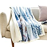 Fassbel Sherpa Throw Blanket Digital Printing Reversible Super Soft Lightweight Blanket Warm Microfiber All Season Blanket for Bed or Couch (60''x80'', Polar Bear)