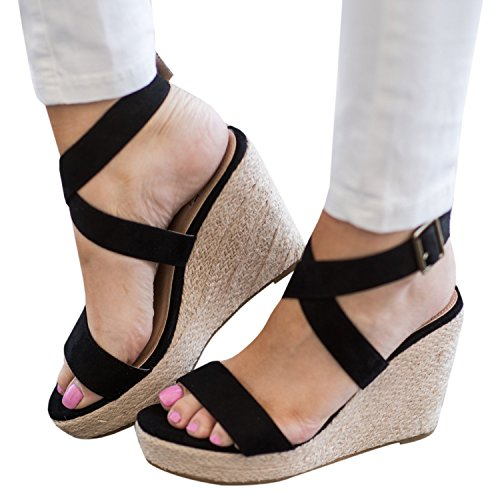 Ermonn Womens Peep Toe Wedge Sandals Espadrille Criss Cross Buckle Strap Braided Sandals