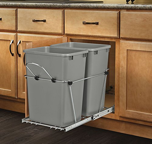 Rev-A-Shelf - RV-18KD-17C S - Double 35 Qt. Pull-Out Silver and Chrome Waste Container - 2 Shelf Metallic Cabinet