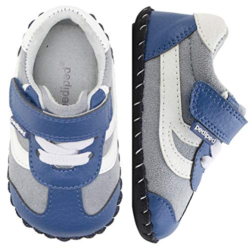 pediped Originals, Cliff Blue Grey Sneaker, Slip Resistant, All Leather Soft-Sole, Man-Made and Microfiber Upper, Genuine Leather Lining, Faux Laces, Adjustable Hook-and-Loop Velcro Closure Strap