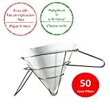 "Cooking Oil Filter by Royal Industries| 1 Pack of 50 Pieces 10"" Durable Non-Woven Cone Filter + 1 Two-Sided Handle Cone Filter Holder Stand 