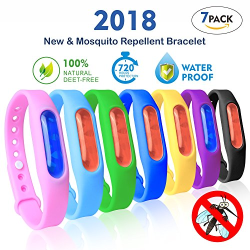Mosquito Repellent Bracelet, 7-Packs Non-Toxic Silicone Travel Insect Repellent For Kid & Adults Outdoor & Indoor,100% All Natural Plant-Based Oil, Protection Against Bugs, Pests, (Pest Oil)