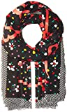 Marc Jacobs Women's Painted Flowers and Hearts Large Scarf, black/multi, One Size