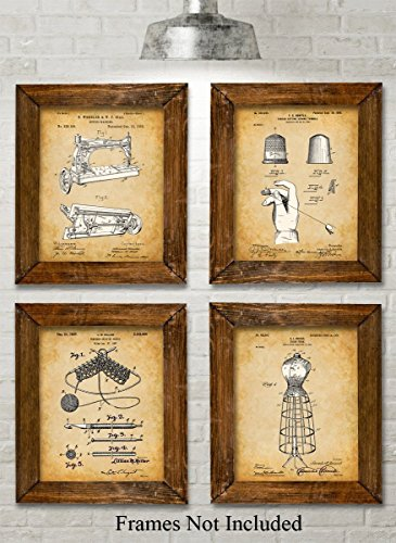Original Sewing Patent Art Prints - Set of Four Photos (8x10) Unframed - Great Gift for Sewers, Fashion Designers or Seamstresses from Personalized Signs by Lone Star Art