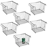 Cheap mDesign Modern Stackable Metal Storage Organizer Bin Basket with Handles, Open Front for Kitchen Cabinets, Pantry, Closets, Bedrooms, Bathrooms, Large, 6 Pack – Silver
