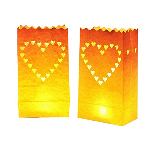 24 Pack Luminary Bags - Heart Design Candle Bags - Flame Resistant Light Holder - Candleholders Decorations for Wedding, Halloween, Birthday, New Year, Party and Event Occasion - White (Big Heart) ()