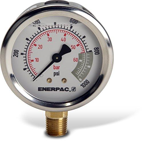 Enerpac G2514L Hydraulic Pressure Gauge with Dual 0 to 1,...