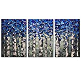 Desihum-3 Piece Wall Art 3D Hand Painted on Canvas Texture Pictures Blue Forest Oil Paintings Modern Home Decor Abstract Artwork Stretched and Framed Ready to Hang For Living Room(30''x60'')