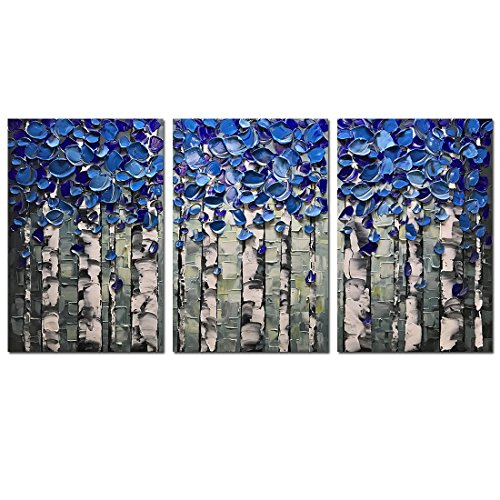 Desihum-3 Piece Wall Art 3D Hand Painted on Canvas Texture Pictures Blue Birch Forest Oil Paintings Modern Home Decor Abstract Artwork Stretched and Framed Ready to Hang For Living (3 Piece Box Art)