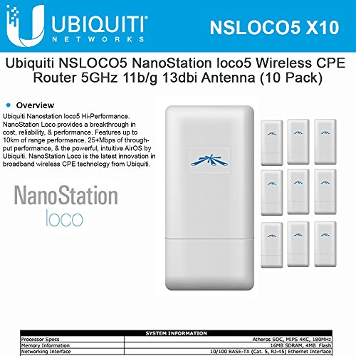 BUNDLE of 10 Ubiquiti NanoStation loco5 Broadband ...