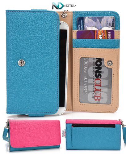 Smartphone Wallet Cover Case fits Alcatel One Touch Fire E Curious Blue Hot Pink with Hand Strap + ND Velcro Cable Tie