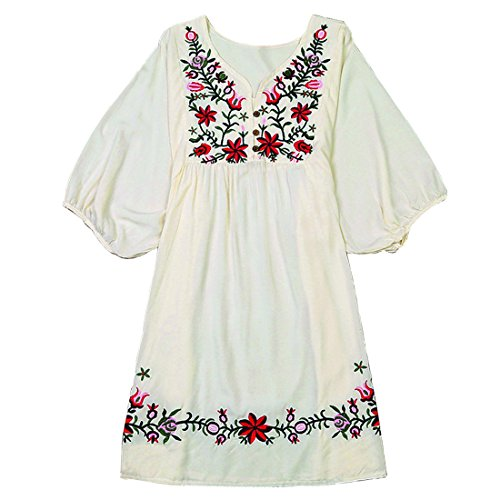 Kafeimali Summer Dress V Neck Mexican Embroidered Peasant Women's Dressy Tops Blouses ()