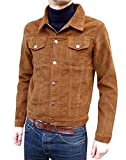 Mens Corduroy Western Denim Jacket Retro Vintage Style Ginger Tan Beige Cord Coat (Medium)