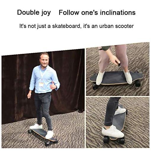 WZHESS Skateboard Électrique avec télécommande, Longboard Électrique – Skateboard Électrique Adulte avec Moteurs Doubles 600W, Vitesse Maximal 40km/h pour Adultes et Adolescents