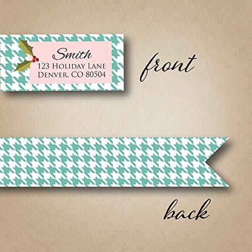 Address Label Return Address Labels Christmas Address Label Mint Houndstooth Personalized Holiday Card Holly Berry Envelope Seals ()