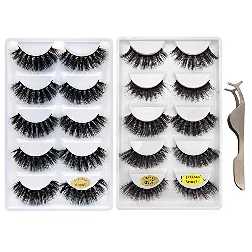 False Eyelashes,Anself 10 Pairs 5 Different Styles 3D Mink Handmade Fake Eyelashes Multipack with Free Precision Eyelashes Clip for Natural ()