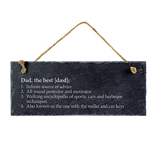 (Casa Vivente Slate Wall Plaque With Definition of the Best Dad - Hanging Door Sign - Slate Plaque With Jute Hanger - Gift for Fathers - Gift Idea for Dads)