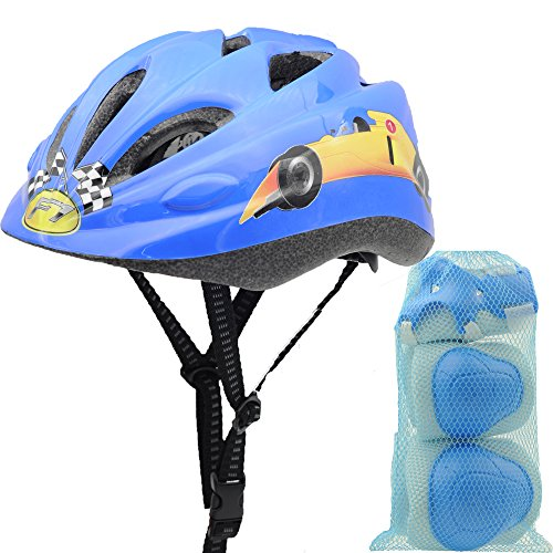 BeBeFun Safety Adjustable children and Kids Helmet with Elbow, Knee and Wrist Pads for Boy and Girl Skate, Scooter and Bike Riding Multi-Sports Lovely Helmet Age 3-7 Years.(Brave Driver + (Helmet Skate Cap)
