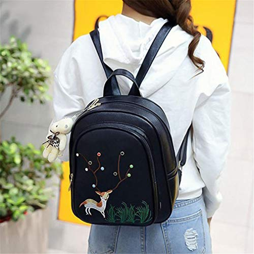 Fashion Emboridery Girls Deer Daypacks 3Pcs Pu White Mini Shoulder Women Backpack Leather Travel Bag v5nTazwq