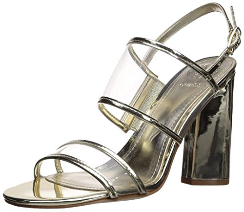Guess Women's Amidala Heeled Sandal, Gold, 8.5 Medium US (Ankle Guess Sandals Strap)