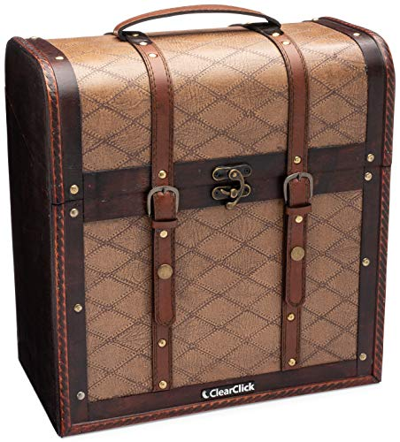 (ClearClick Handmade Wooden Record Storage Carrying Case 30+ Records - Classic Vintage Retro Style)