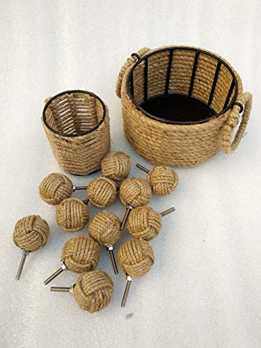Cabinet Nautical Hardware (Set of 3, Jute Rope Door Knobs with Basket & Pen Holder/Rope Knot Drawer Pulls and Knobs/Pull and Push Handle Knobs for Cabinets, Wardrobes & Cupboards/Nautical Hardware Decor, Knobs # 47 mm,)