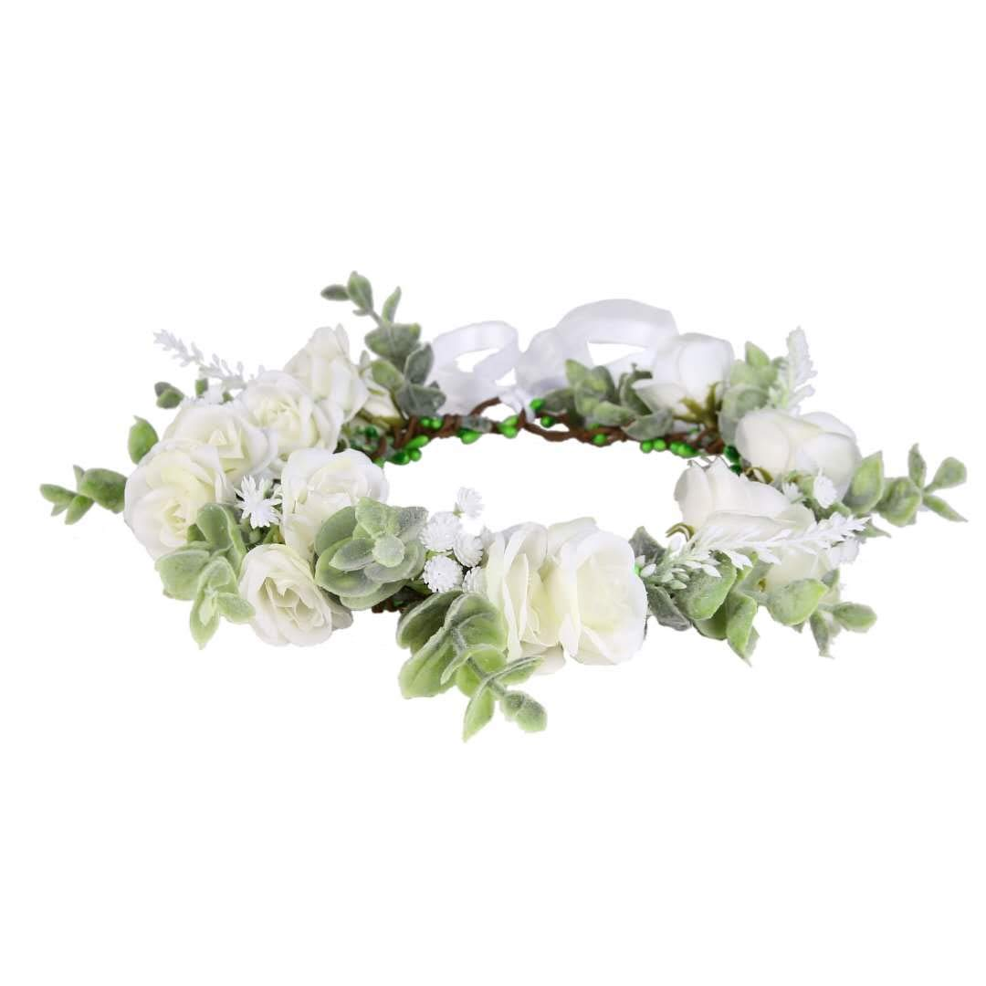 Yili Maizi Artificial Flower Wreath Headband Floral Hair Garland Flower Crown Halo Headpiece Boho with Ribbon Wedding Party Photos