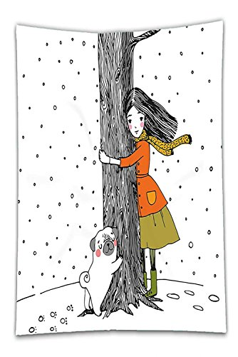 Snowy Dog Costume (Nalahome Fleece Throw Blanket Dog Decor A Young Girl and a Cute Pug Holding a Tree in Snowy Weather Illustration White and Black)
