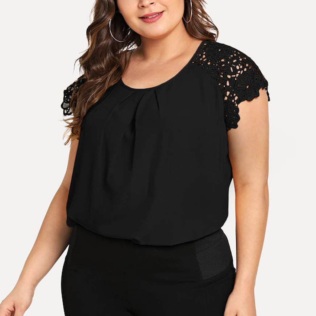 BEAUTYVAN Plus Size Lace Tops,Women Summer Crewneck Floral Shoulder Chiffon T-Shirt Casual Blouse