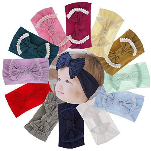 Qandsweet Soft Lace Nylon Hairbands Baby Headbands and Bows For Newborn Infant Toddlers Girl Kids